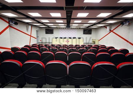 MOSCOW - DEC 25, 2014: Meeting room for press conferences in Spartak stadium. New stadium is included in list of objects for games will be played at 2018 World Cup