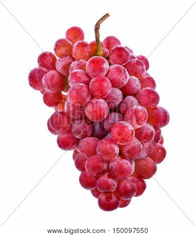 red grapes isolated on white background .
