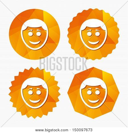Smile face sign icon. Happy smiley with hairstyle chat symbol. Triangular low poly buttons with flat icon. Vector