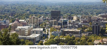 low aerial view of downtown Asheville, North Carolina, panorama.