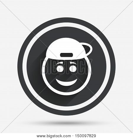 Smile rapper face sign icon. Happy smiley with hairstyle chat symbol. Circle flat button with shadow and border. Vector