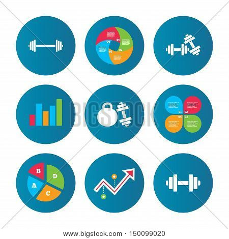 Business pie chart. Growth curve. Presentation buttons. Dumbbells sign icons. Fitness sport symbols. Gym workout equipment. Data analysis. Vector