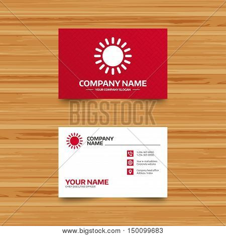 Business card template. Sun icon. Sunlight summer symbol. Hot weather sign. Phone, globe and pointer icons. Visiting card design. Vector