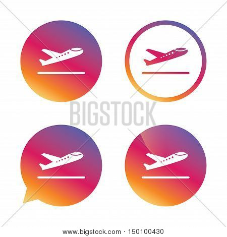 Plane takeoff icon. Airplane transport symbol. Gradient buttons with flat icon. Speech bubble sign. Vector