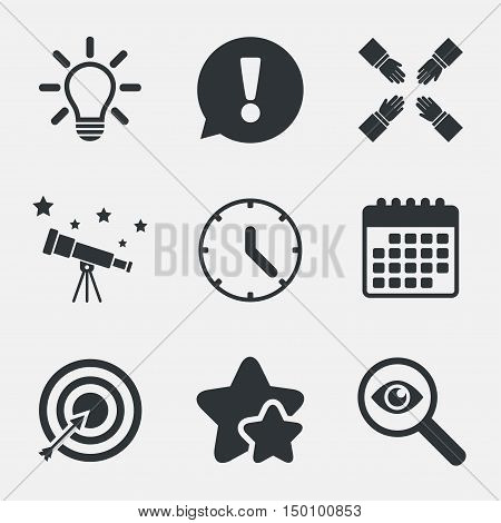 Lamp idea and clock time icons. Target aim sign. Darts board with arrow. Teamwork symbol. Attention, investigate and stars icons. Telescope and calendar signs. Vector