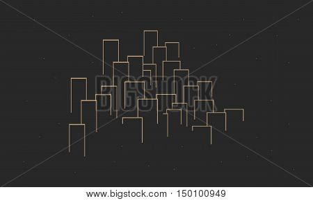Vector city contours of buildings collection stock