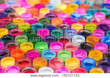 Colorful of dry water color in bottles