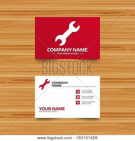 Business card template. Repair tool sign icon. Service symbol. Phone, globe and pointer icons. Visiting card design. Vector
