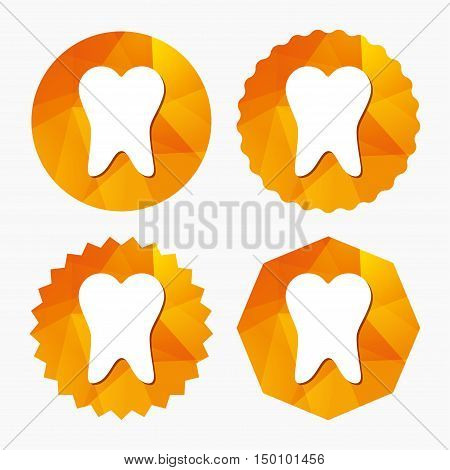 Tooth sign icon. Dental care symbol. Triangular low poly buttons with flat icon. Vector