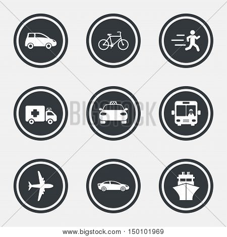 Transport icons. Car, bike, bus and taxi signs. Shipping delivery, ambulance symbols. Circle flat buttons with icons and border. Vector