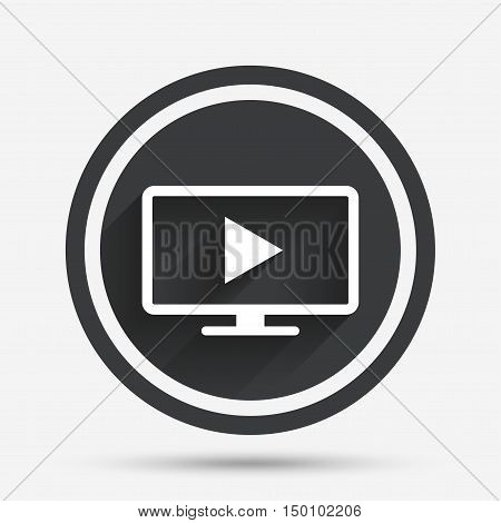 Widescreen TV mode sign icon. Television set symbol. Circle flat button with shadow and border. Vector