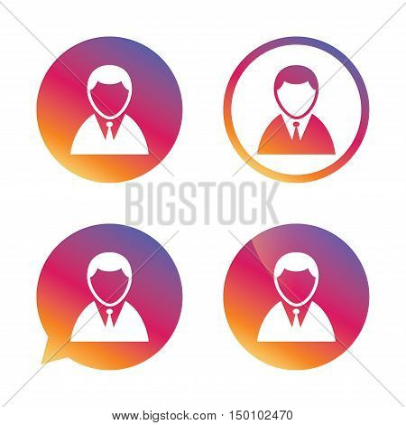 User sign icon. Person symbol. Human in suit avatar. Gradient buttons with flat icon. Speech bubble sign. Vector