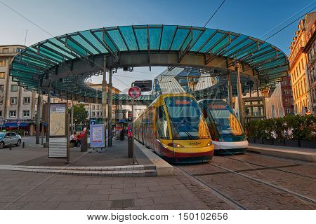 STRASBOURG, FRANCE - 15 August 2016: Modern Colorful Trams at a station in Strasbourg Center