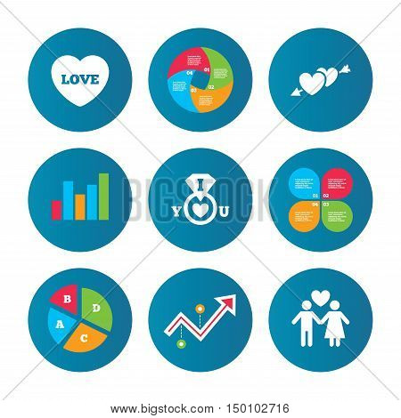 Business pie chart. Growth curve. Presentation buttons. Valentine day love icons. I love you ring symbol. Couple lovers sign. Data analysis. Vector