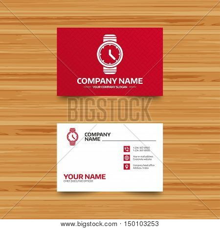Business card template. Wrist Watch sign icon. Mechanical clock symbol. Men hand watch. Phone, globe and pointer icons. Visiting card design. Vector