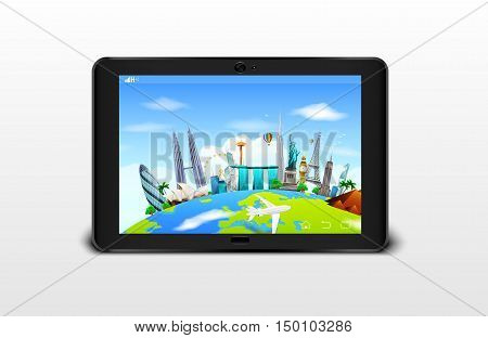 Vector illustration of Famous monuments of the world grouped together on a digital tablet