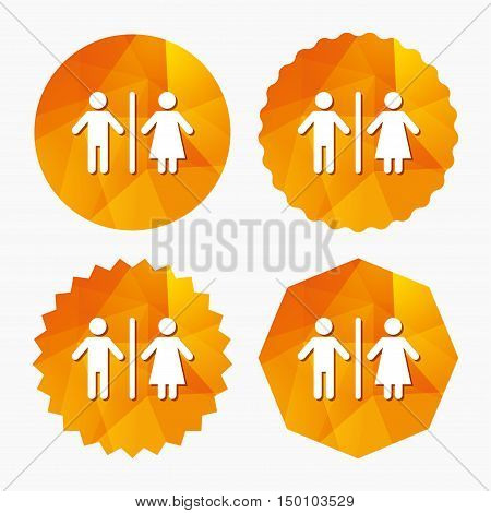 WC sign icon. Toilet symbol. Male and Female toilet. Triangular low poly buttons with flat icon. Vector