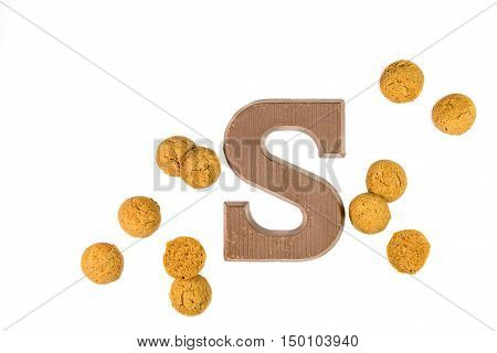 Dose Of Pepernoten Cookies With Chocolate Letter