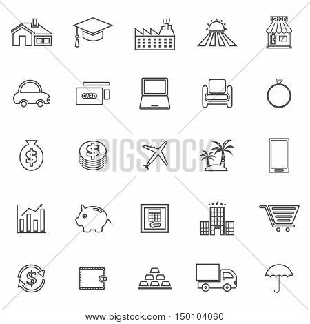 Loan line icons on white background, stock vector
