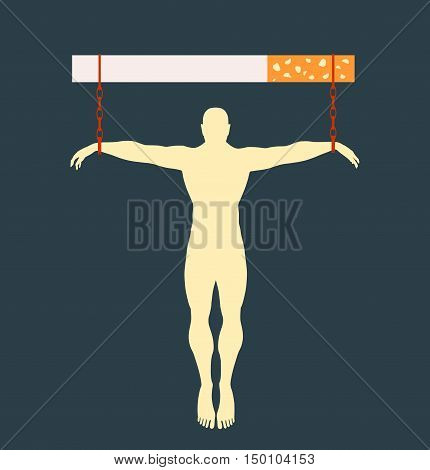 Man chained to cigarette. Unhealth addicition metaphor. Vector illustration.