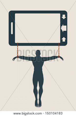 Smartphone addiction metaphor. Man chained to phone. Bad lifestyle concept.