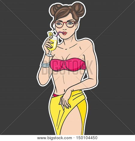 Vector illustration sticker beautiful girl drinking a cocktail from a straw. Teenager with glasses and fruit juice on a dark background. Drawing by hand. Sticky label