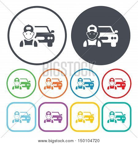 car mechanic icon on white background for web