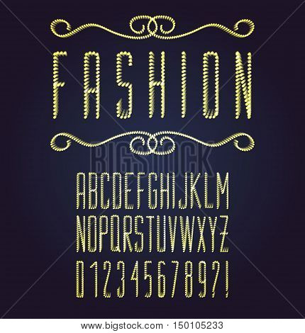 Vector dotted font. Bright modern fashion type.