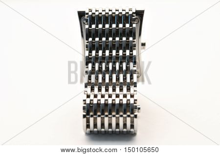 old watch strap, silver, old style antique, on white background, isolated