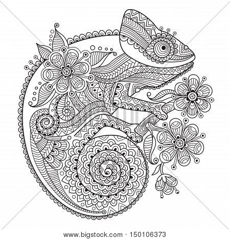 Black and white vector illustration with a chameleon in ethnic patterns. It can be used as a coloring antistress for adults and children.