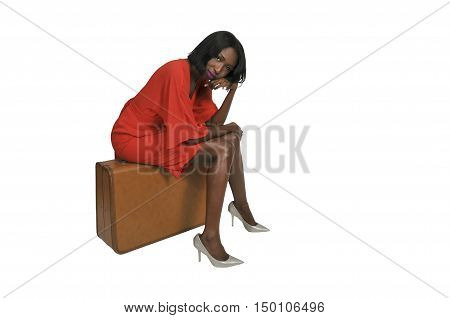 Beautiful young woman going on vacation with a suitcase