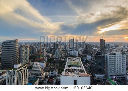 Bangkok Cityscape Business district with high building at dusk (Bangkok Thailand)