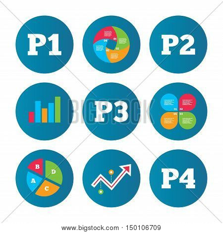 Business pie chart. Growth curve. Presentation buttons. Car parking icons. First, second, third and four floor signs. P1, P2, P3 and P4 symbols. Data analysis. Vector