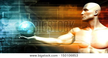 Futuristic Background with Businessman and Globe in Hands 3d Render