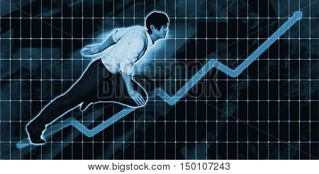Asian Businessman Charging Ahead on Blue Background Art 3d Render