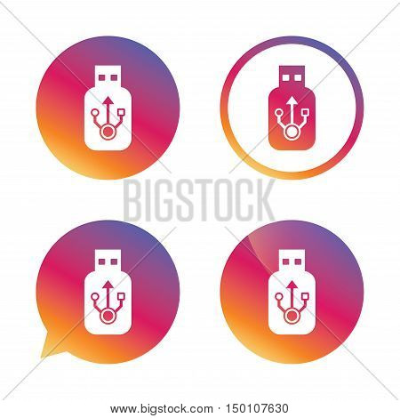 Usb sign icon. Usb flash drive stick symbol. Gradient buttons with flat icon. Speech bubble sign. Vector