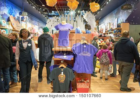 NEW YORK - CIRCA MARCH, 2016: inside of Times Square Disney Store. Disney Store is an international chain of specialty stores selling only Disney related items, many of them exclusive.