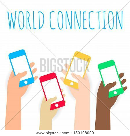 International flat Hands holding phone. Vector icon for web or app. Infographics. Wireless technologies for people. Trending gadget flat style with shadow material white background