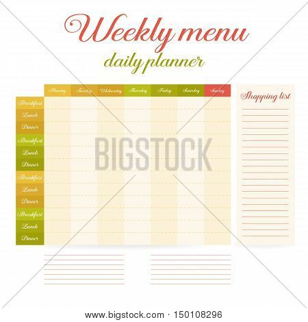 Paper note week healthy eating daily routine. Breakfast lunch dinner. Weekly menu calendar. Template shopping list. Planner Vector.