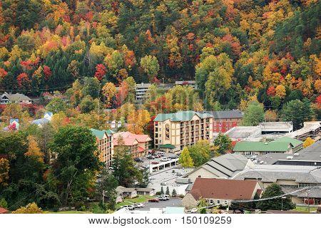 Gatlinburg and valley of smoky mountain in autumn