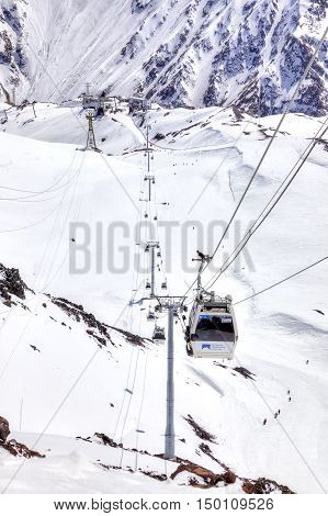 CAUCASUS RUSSIA - May 01.2015 : Supports gondola of aerial lift on a mountain Elbrus. First level