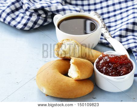 bagels, jam and coffee , for breakfast