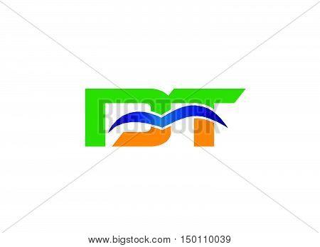 DT company linked letter logo design vector template