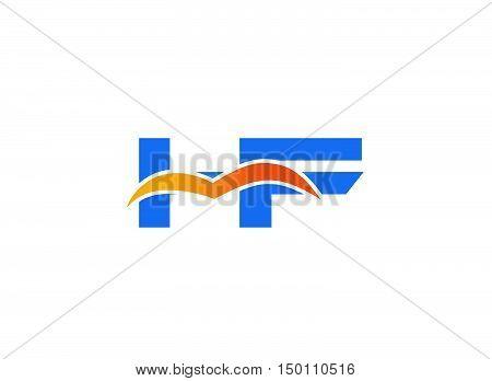 HF Logo. Vector Graphic Branding Letter Element