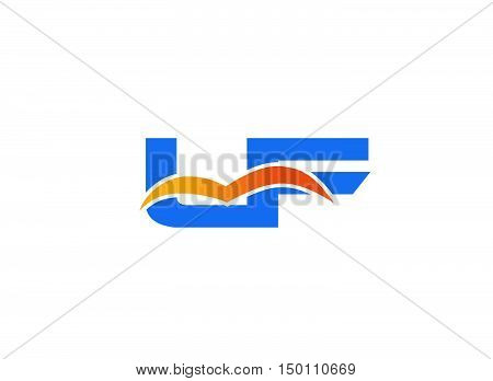 LF Logo. Vector Graphic Branding Letter Element