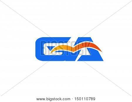 GA letter logo. GA letter logo design vector template