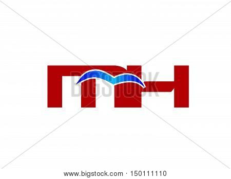 M and H logo vector design vector template