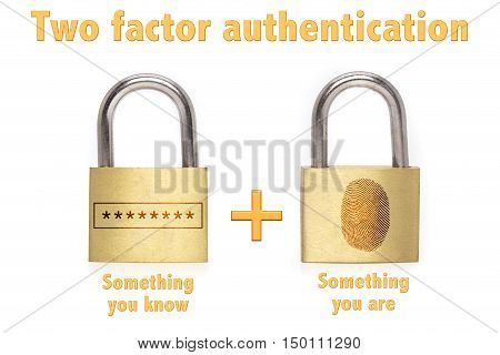 Two factor authentication concept with two padlocks isolated on white and the phrase something you know and have and a password plus fingerprint icon