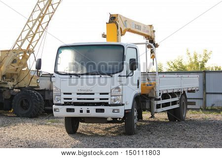 Great Truck Crane Standing On A Construction Site - Russia, Crimea - September, 21, 2016