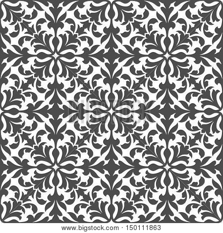 Damask floral seamless pattern with gray arabesque ornament of scrolling and interlacing leaves on white background. Tile and fabric print, interior design